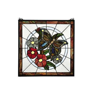 "Meyda Lighting 20""W X 20""H Butterfly Floral Stained Glass Window - 32672"