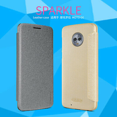 Original Nillkin Sparkle Slim PU Leather Flip Case Cover For Motorola Moto G6