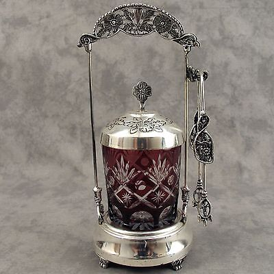 BOHEMIAN RED CUT TO CLEAR GLASS PICKLE SERVING JAR with FANCY CASTOR and TONGS