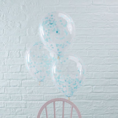 "Confetti Balloons - silver pink blue rose gold Party Decor 12"" ~ 5 pk"