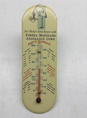 Vintage 1923 Eureka Maryland Assurance Corp. Thermometer With Stork & Baby