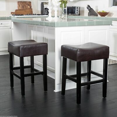 Astonishing Adler 26 Inch Brown Leather Backless Counter Stool Set Of 2 Cjindustries Chair Design For Home Cjindustriesco
