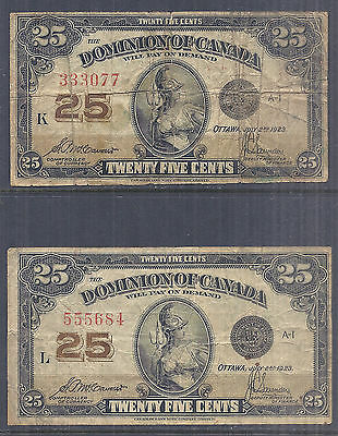 Dominion of Canada Shinplaster Fractional Currency Lot of 2, 25c 1923 Circ*