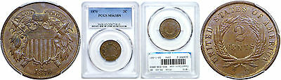 1870 Two Cent Piece PCGS MS-63 BN