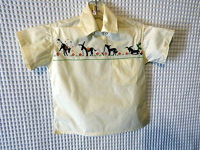 60s Ivory cotton Childs top w/Donkey embroidiery 30 breast