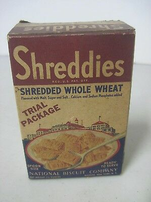 Vintage 1939 Nabisco Shreddies Trial Package Individual Serving Cereal Box