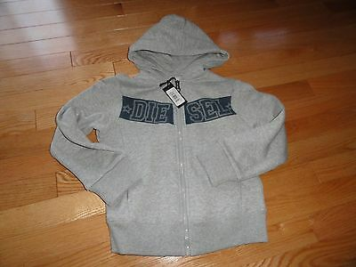 Diesel Youth Boy's Full Zip Hoodie Sweatshirt Gray Blue Boys Size 6 8 Years NWT