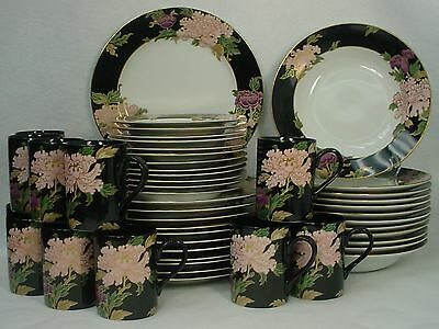 FITZ & FLOYD china CLOISONNE PEONY BLACK pattern 48-piece SET SERVICE for 12