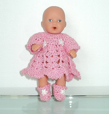 """New Handmade Crochet Pink Dress & Booties Outfit For/fits 5"""" Baby Doll"""
