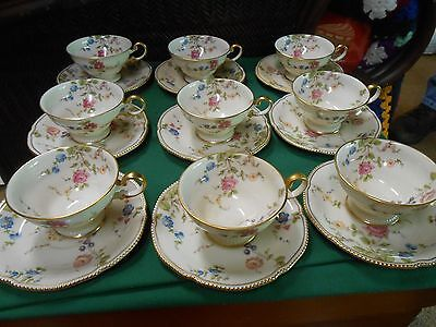 "Magnificent CASTLETON China ""Sunnyvale""  Set of 9 CUPS & SAUCERS"