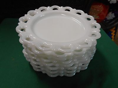 """Great Collectible Vintage LACE EDGE """"Milk White"""" Set of 8 LUNCHEON Plates"""