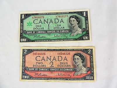 1954 Canadian $2 Paper Bill & 1967 Canadian $1 Paper Bill Vintage Currency