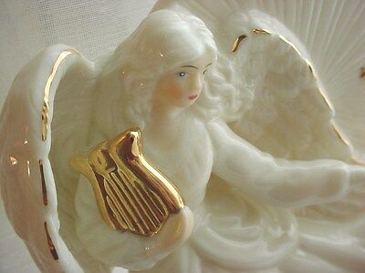 Ivory Porcelain Angel with Baby Cherub Harp Figurine 6 inch Night Light As Is