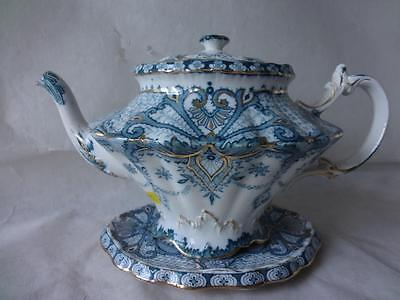 Antique B&L Burgess & Leigh Middleport Pottery Transferware York Teapot & Stand