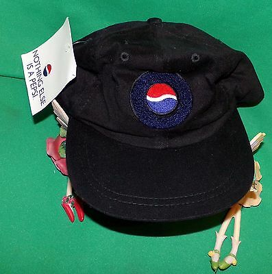 Pepsi Hat Fuzzy Pepsi Logo RARE Black Embroidered Baseball Cap, Pepsi Stuff