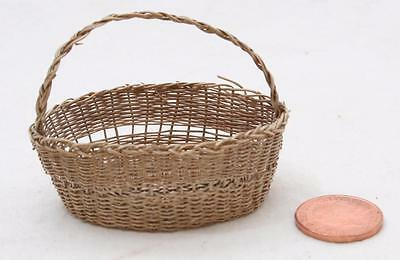 Antique Chilean Chile Linares Tiny Miniature Fibrous Woven Root Basket w/ Handle