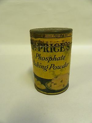 Vtg Antique Dr. Price's Phosphate Baking Powder Paper Label Tin Container (A5)