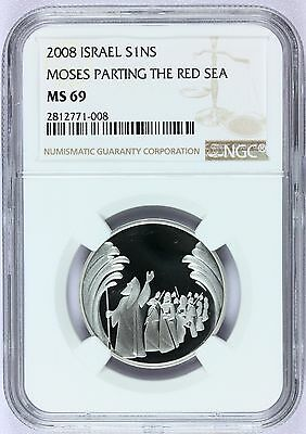 2008 Israel 1 New Sheqel Moses Red Sea Silver Prooflike Coin NGC MS 69 - KM# 444