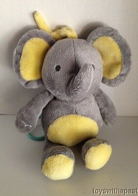 Carters ELEPHANT Gray Yellow Musical CRIB PULL Child of Mine Plush Baby Toy