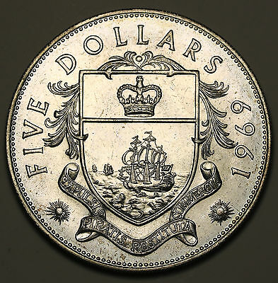 1969 Bahamas $5 Large Coin 1.25oz Silver Low Mintage UNC Coin
