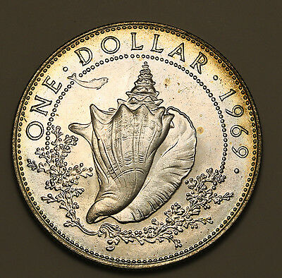 1969 Bahamas  $1 Silver Dollar  Low Mintage UNC Coin Conch Shell
