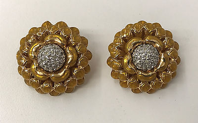 Vintage Judith Leiber Earrings Flower Yellow Gold Enamel Swarovski Crystals