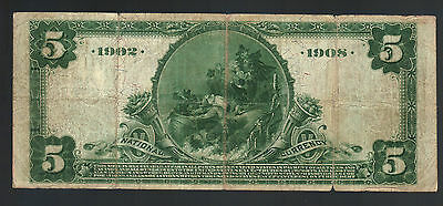 $5 Dollar Large 1902 National Currency Bill Date Back BOSTON MA Note USA Money