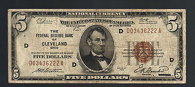 $5 1929 National CLEVELAND OHIO OLD USA Brown Seal Federal Reserve Lincoln Bill