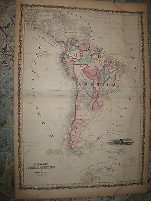 Huge Gorgeous Antique 1862 South America Johnson Map Patagonia Brazil Argentina