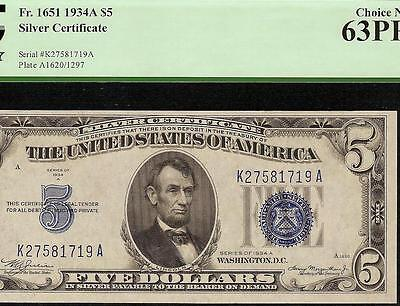 Unc 1934A $5 Dollar Bill Silver Certificate Blue Seal Note Currency Pcgs 63 Ppq