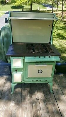 Rare Antique Premier Range Gas Stove Wood Oven 1930s Warmer 4 Burners Vintage