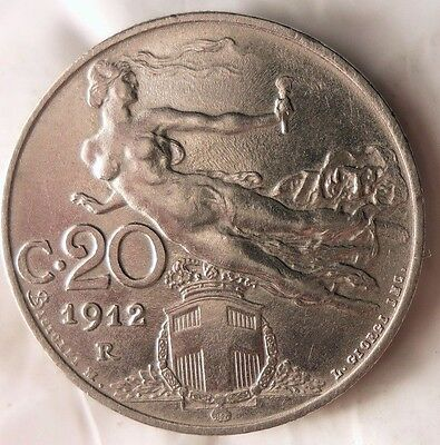 1912 ITALY 20 CENTESIMI - AU Quality Collectible - FREE SHIPPING - Italy Bin A
