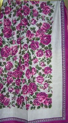 """Deep Rose and Pink Flowers Tablescarf - 46"""" x 46"""" handscreened - from  Austria"""