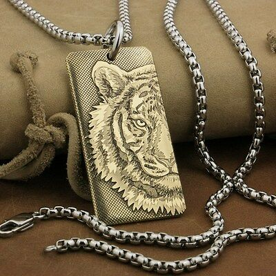 High Detail Deep Engraved Brass Tiger King Dogtag Biker Punk Pendant 9X027BA 24""
