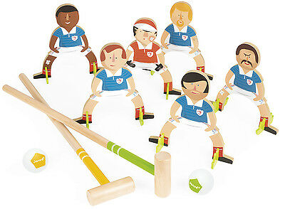 Janod CHAMPIONS CROQUET Kids/Childrens Football Scoccer Wooden Game  BN
