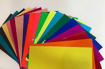 20 Colored Transparent Vinyl Sheets, 8 x 12 inch, Adhesive Coated Sticky Plastic