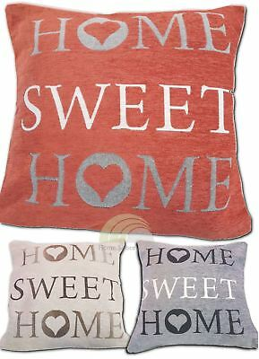 "Chenille Cushion Cover Home Sweet Home 17""x17"" Room Accessory 3 Colours"