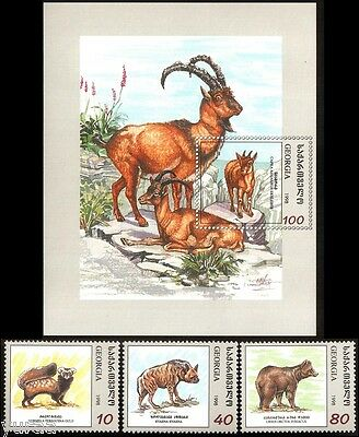 Georgia - 1999 - Fauna of Georgia, Mammals, s/s + 3v