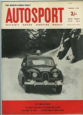 Autosport February 1st 1963 *Monte Carlo Rally & Lady Wigram Trophy Race*