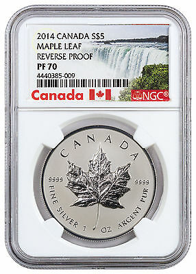 2014 Canada 1 oz Silver Maple Leaf Reverse Proof $5 NGC PF70 Excl Label SKU45731