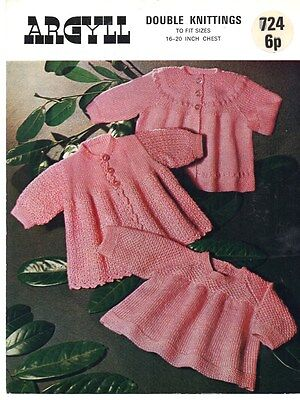 "Original Vintage Knitting Pattern for Baby's Coats & Angel Top DK 18-20"" 724"