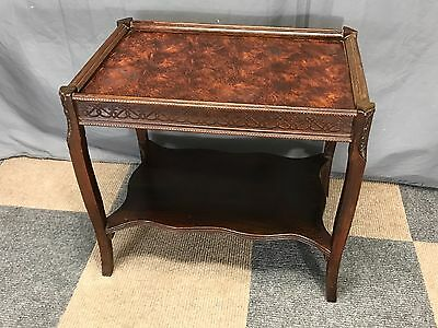Antique End Table ornate carved wood glass top vintage serving tray plant stand