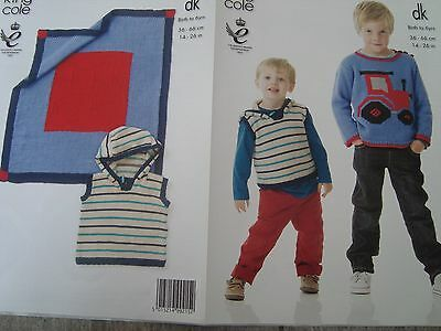 "Childs Tractor Sweater & Blanket Sizes 14-26"" DK Knitting Pattern King Cole 3862"