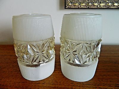 2 x Frosted/Clear Decorated Glass Light Lamp Shades Vintage/Retro