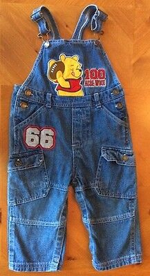 Disney Winnie the Pooh Hundred Acre Wood Football Denim Overalls 24 Months
