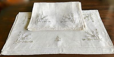 ANTIQUE ITALIAN RETICELLA EMBROIDERED PLACEMATS x 6  HEMSTITCHED  10 X 17 INCH