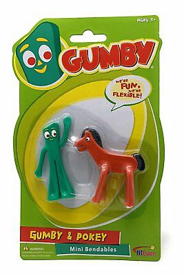 NJ Croce Classic Gumbitty Gumby and Gumbitty Pokey 2.5-inch Bendable Figures New