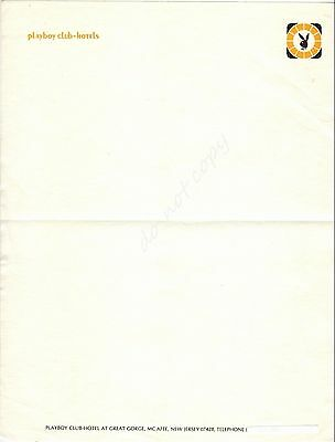Playboy Club Hotels Great Gorge McAfee NJ Vintage Hotel Stationery Sheet