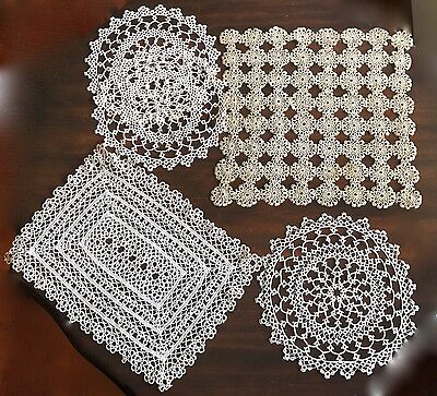 ANTIQUE TATTED TATTING VICTORIAN GROUP of  DOILIES  ECRU  & ONE BEIGE