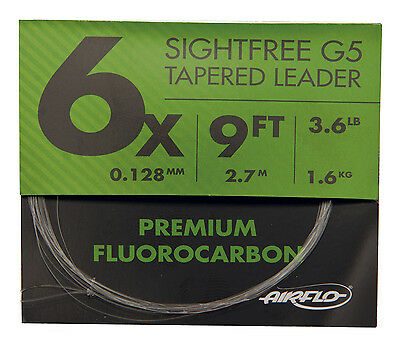 Airflo NEW G5 Fluorocarbon Fly Fishing Tapered Leaders 9' ALL SIZES avilable
